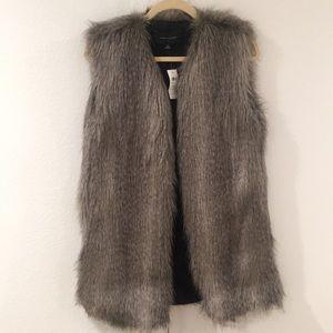 NWT Ann Taylor Gray Long Fur Vest XS